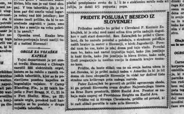 19. April 1941: Hilfe von amerikanischen Slowenen